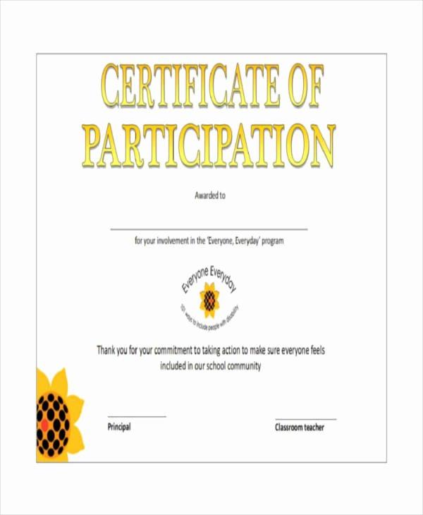 Certificate Of Participation Pdf Beautiful 12 Certificate Of Participation Templates Word Psd Ai