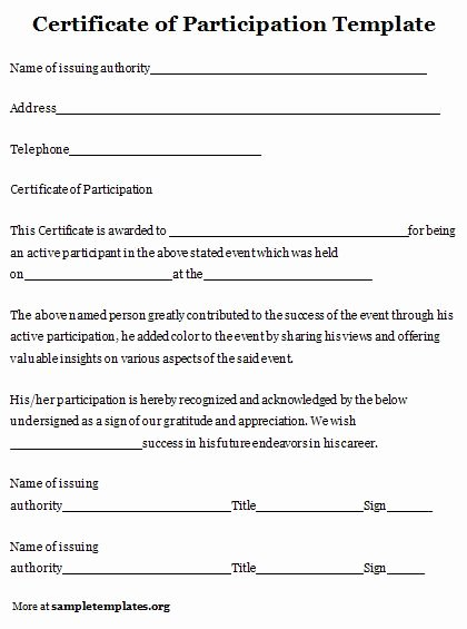 Certificate Of Participation Pdf Beautiful Certificate Of Participation Template