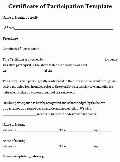 Certificate Of Participation Pdf Beautiful Certificate Of Participation Template