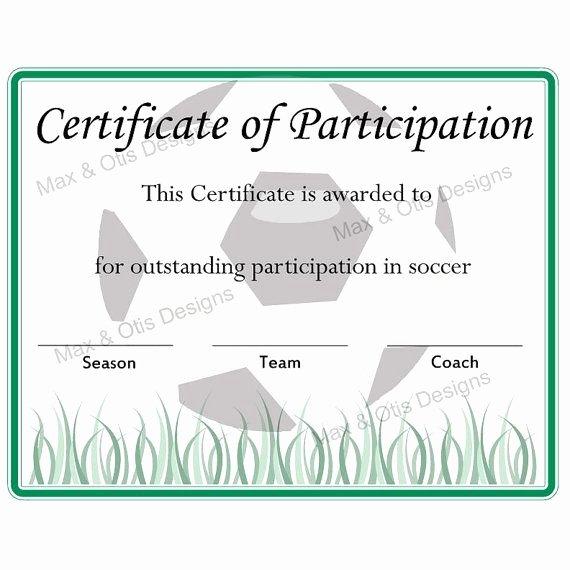 Certificate Of Participation Pdf Elegant Free Printable soccer Participation Certificate