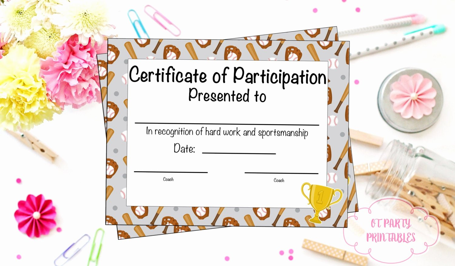 Certificate Of Participation Pdf Lovely Baseball Certificate Of Participation Baseball Award Print