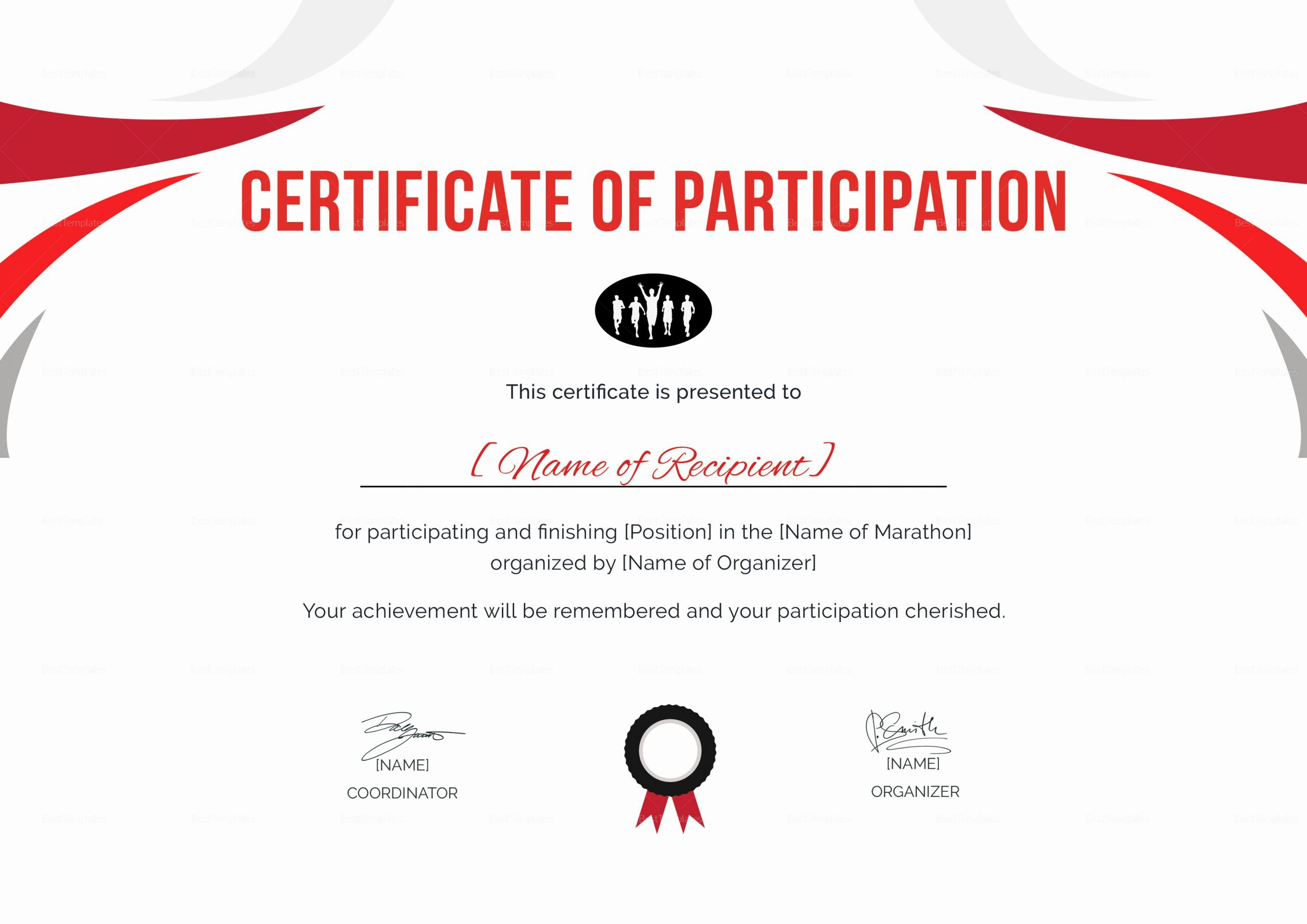 Certificate Of Participation Pdf Luxury Participation Certificate for Running Template In Psd Word