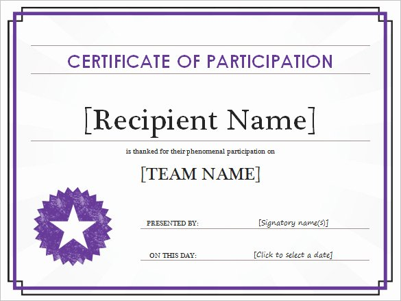 Certificate Of Participation Pdf New Certificate Of Participation Templates