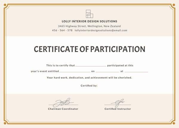 Certificate Of Participation Pdf Unique 12 Certificate Of Participation Templates