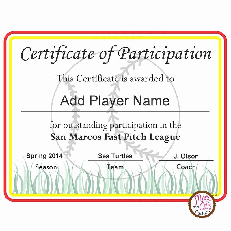 Certificate Of Participation Pdf Unique softball Certificate Of Participation Editable Pdf – Max