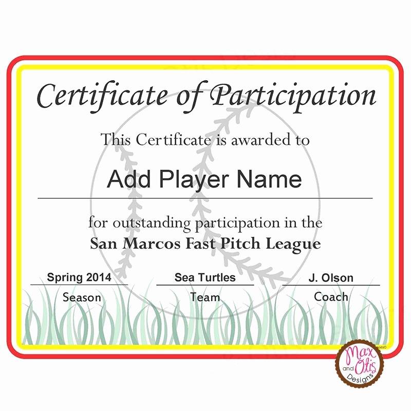 Certificate Of Participation Pdf Unique softball Certificate Of Participation Editable Pdf – Max