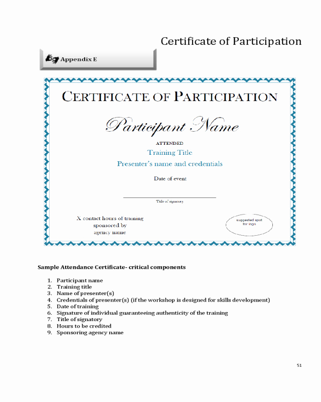 Certificate Of Participation Sample Awesome 2019 Participation Certificate Fillable Printable Pdf