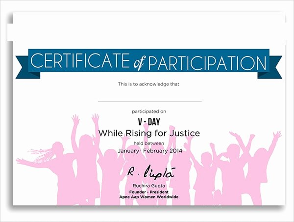 Certificate Of Participation Sample Awesome Free 9 Examples Of Certification Of Participation In Psd