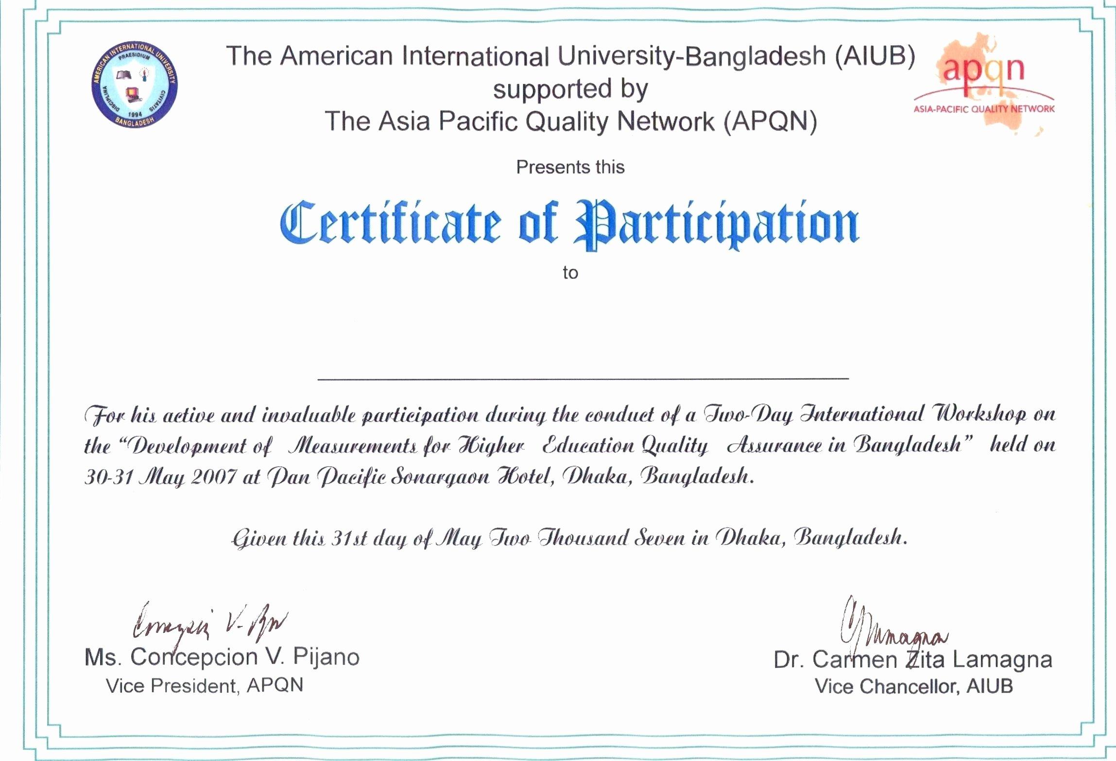 Certificate Of Participation Sample Beautiful Certificate Participation Wording Canasbergdorfbibco