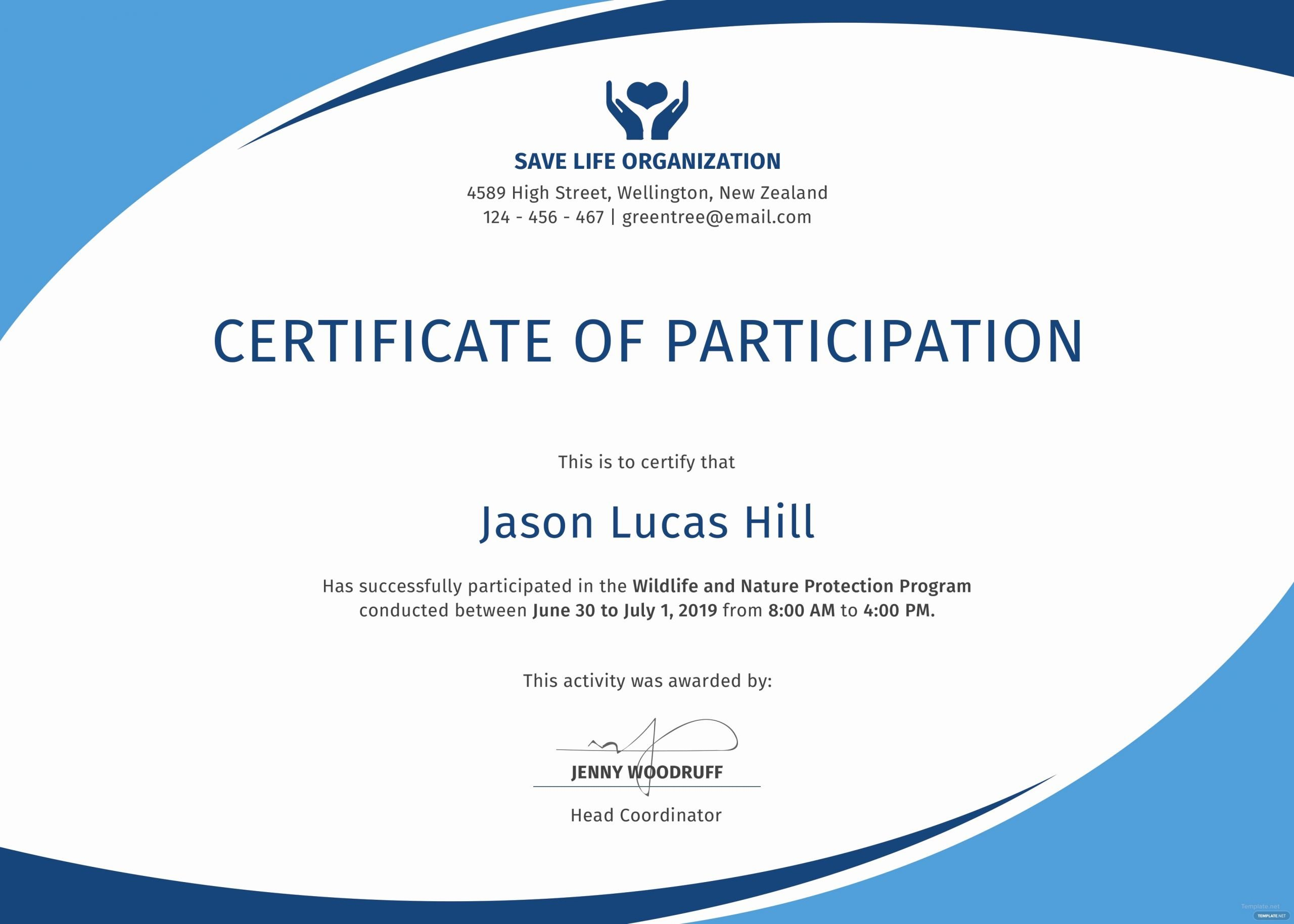 Certificate Of Participation Sample Best Of Free Program Participation Certificate Template In Psd Ms