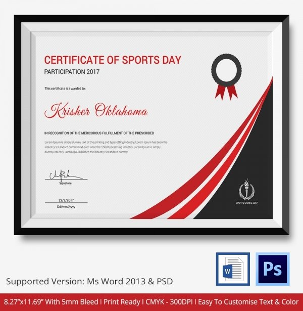 Certificate Of Participation Sample Unique 8 Sports Certificate Templates Free Sample Example