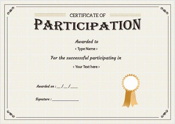 Certificate Of Participation Sample Unique Free Certificate Template – 65 Adobe Illustrator