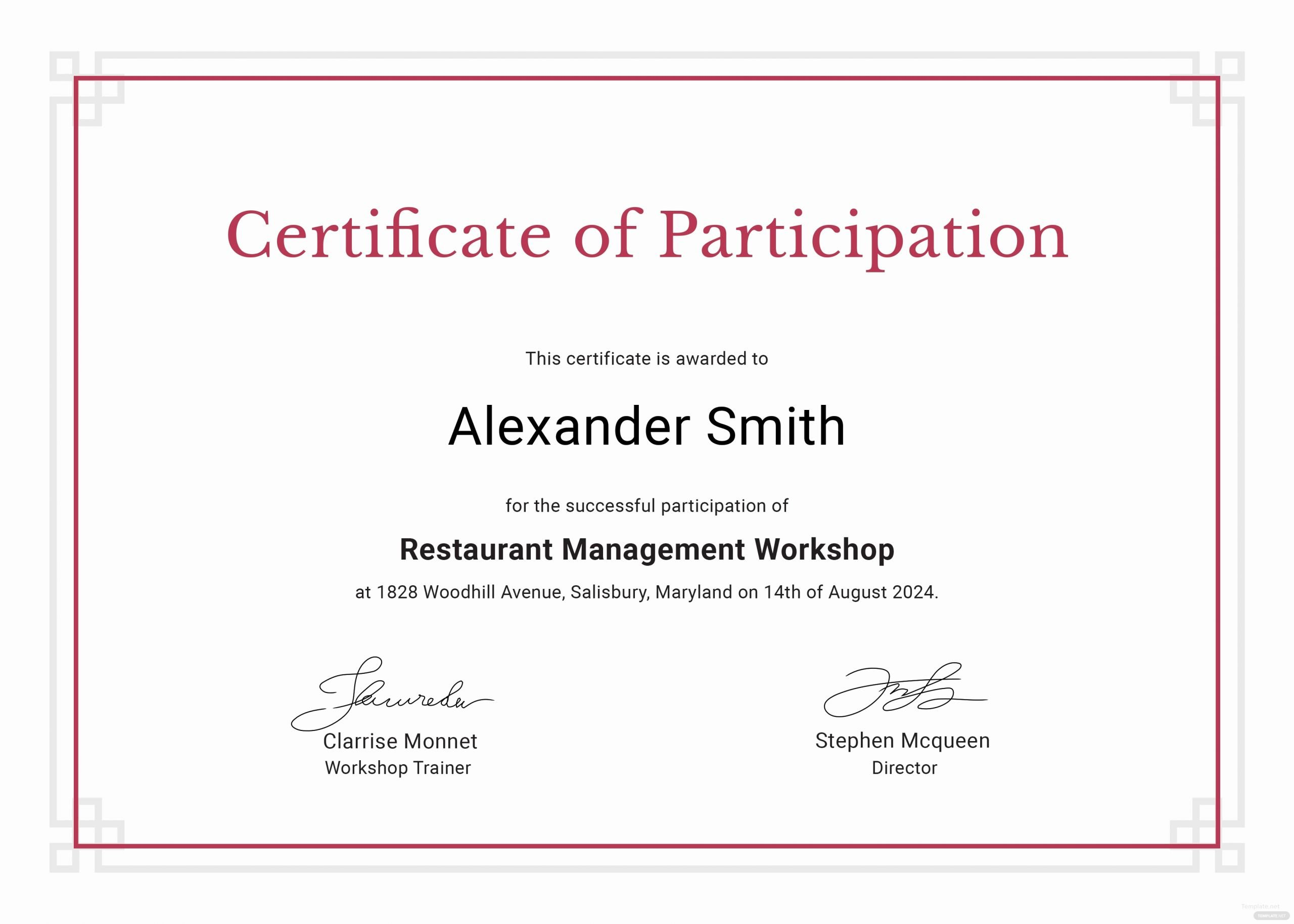 Certificate Of Participation Template Awesome Sample Participation Certificate Template In Adobe