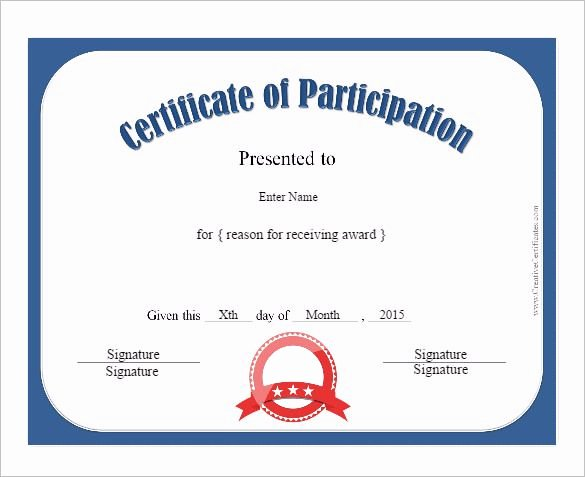 Certificate Of Participation Template Best Of 12 Certificate Of Participation Templates