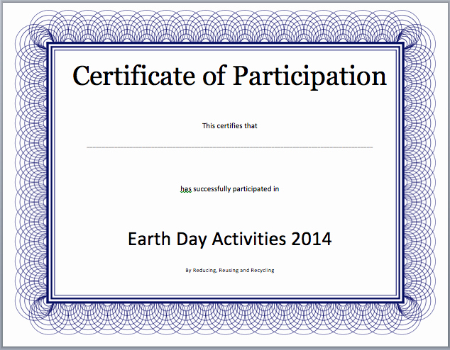 Certificate Of Participation Template Doc Awesome event Participation Certificate Template Free Template