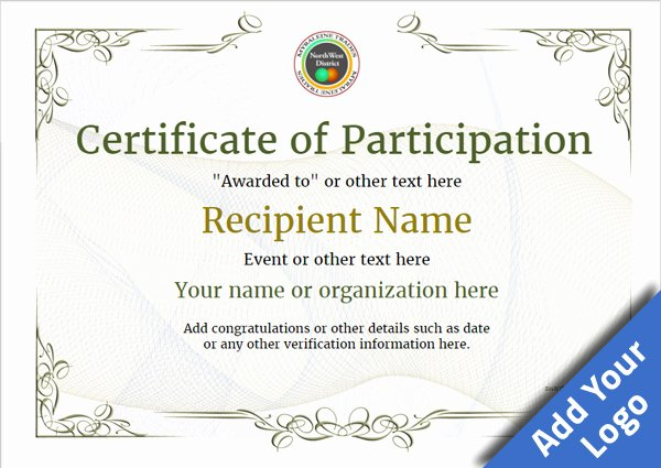 Certificate Of Participation Template Doc Elegant Participation Certificate Templates Free Printable Add