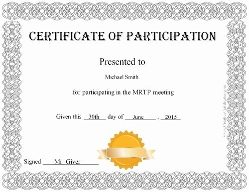 Certificate Of Participation Template Doc Fresh Free Printable Certificate Of Participation Award