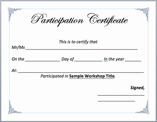 Certificate Of Participation Template Doc Inspirational Workshop Participation Certificate Template – Word