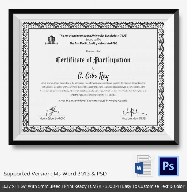 Certificate Of Participation Template Doc Lovely Certificate Templates Participation Certificate Template