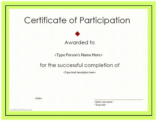 Certificate Of Participation Template Doc New Special Certificate Award Certificate Of Participation