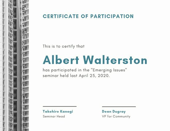 Certificate Of Participation Template Elegant Customize 51 Participation Certificate Templates Online