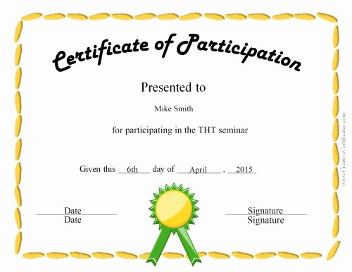 Certificate Of Participation Template Inspirational Free Certificate Of Participation Templates for Download