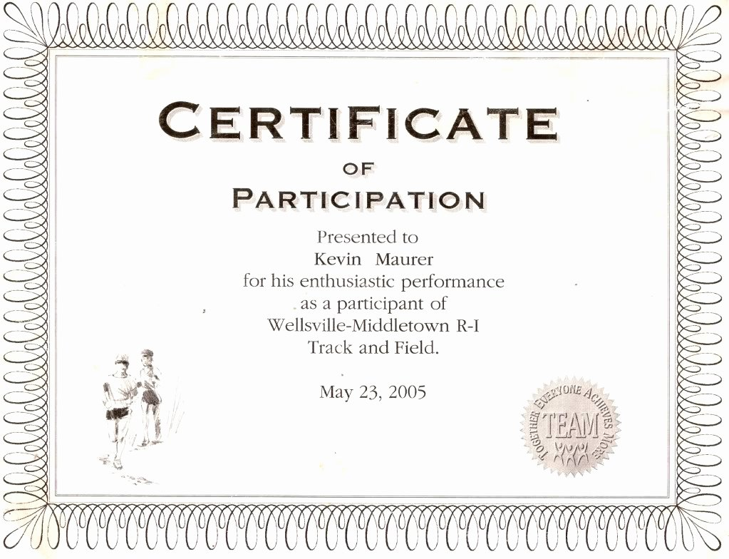 Certificate Of Participation Template Lovely Best S Of Wording for Certificate Participation