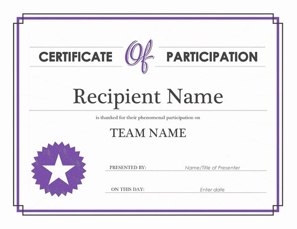 Certificate Of Participation Template Lovely Certificate Of Participation