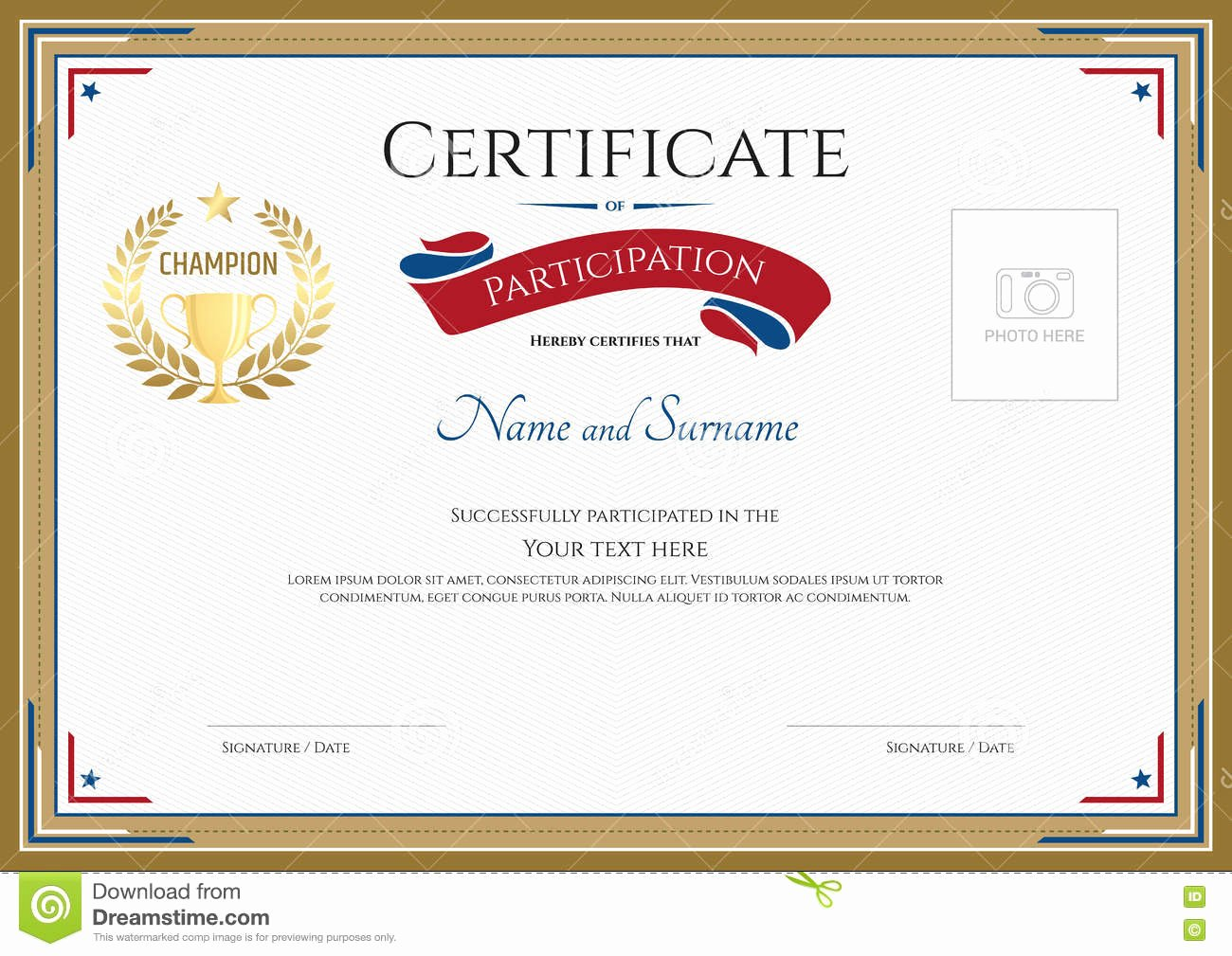 Certificate Of Participation Template Lovely Certificate Participation Template In Sport theme Stock