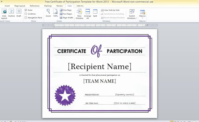 Certificate Of Participation Template Word Beautiful Free Certificate Participation Template for Word 2013