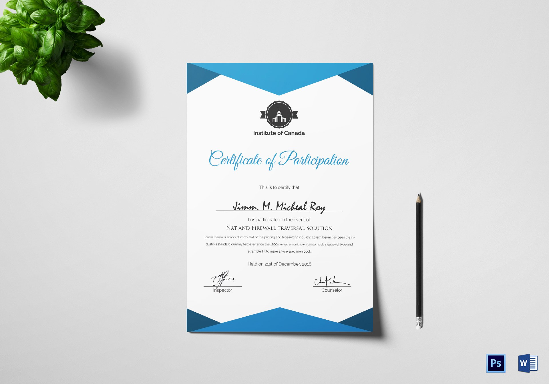 Certificate Of Participation Template Word Beautiful Sample Certificate Of Participation Template In Psd Word