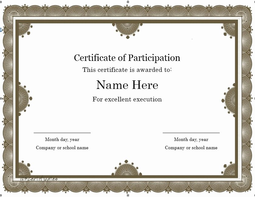 Certificate Of Participation Template Word Elegant 11 Free Sample Participation Certificate Templates
