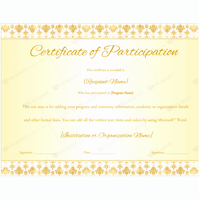 Certificate Of Participation Template Word Fresh 89 Elegant Award Certificates for Business and School events