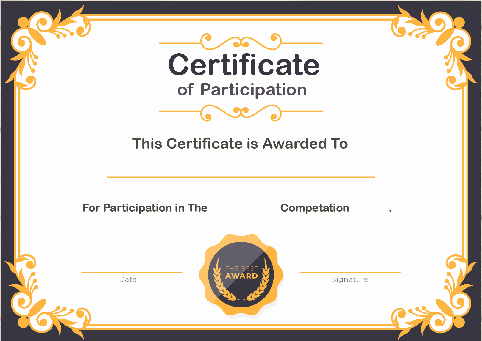 Certificate Of Participation Template Word Lovely Free Sample format Of Certificate Of Participation