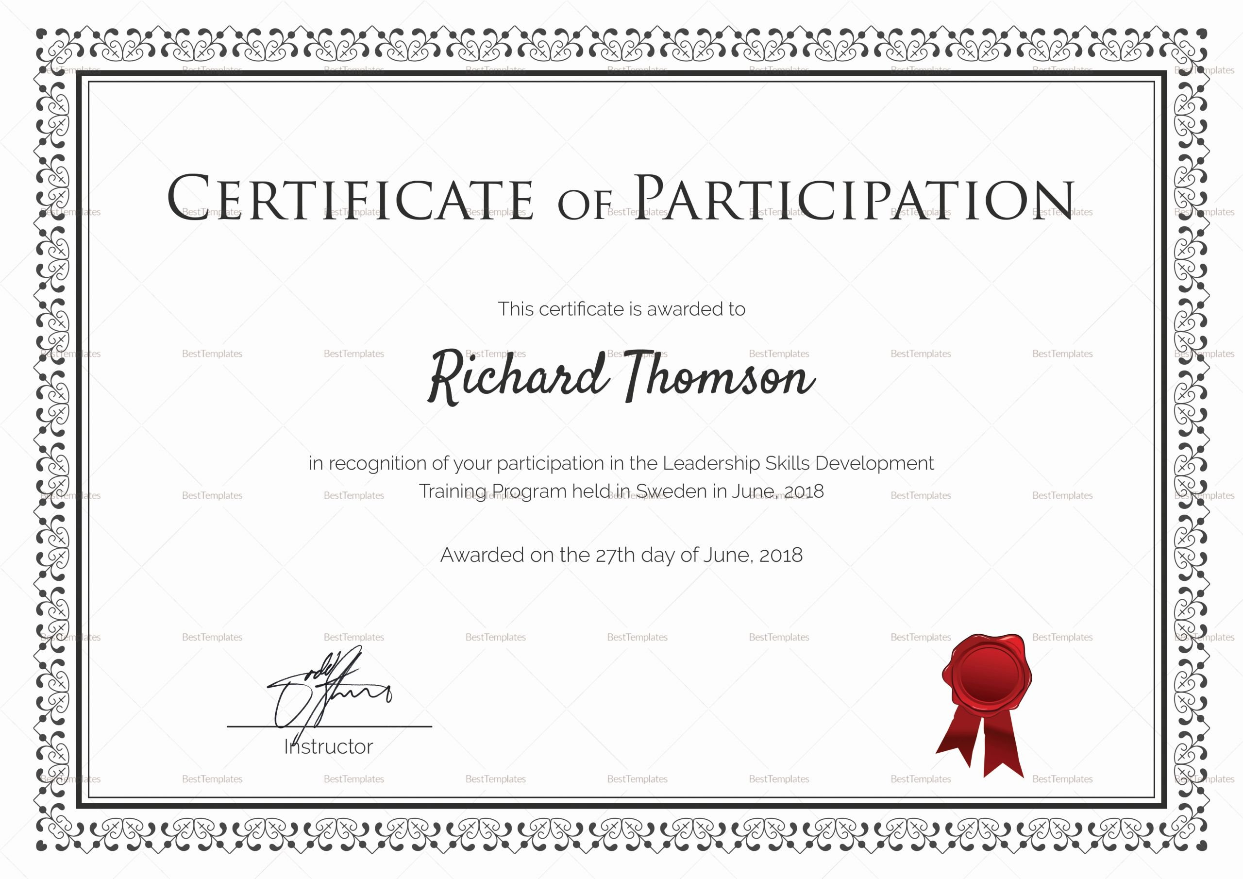 Certificate Of Participation Template Word New Training Participation Certificate Design Template In Psd