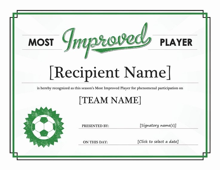 Certificate Of Participation Template Word Unique Most Improved Player Certificate Templates Fice