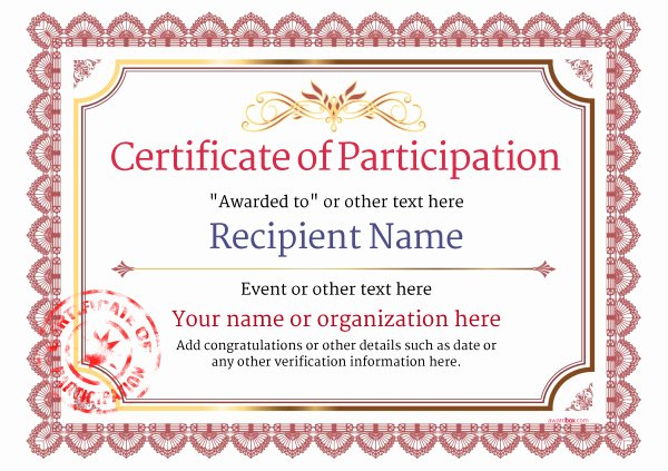 Certificate Of Participation Templates Awesome Participation Certificate Templates Free Printable Add