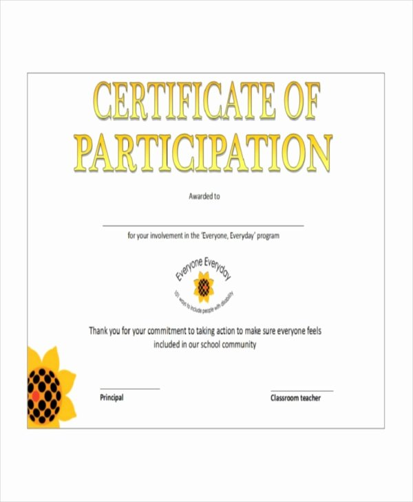 Certificate Of Participation Templates Beautiful Certificate Template 12 Free Word Pdf Document