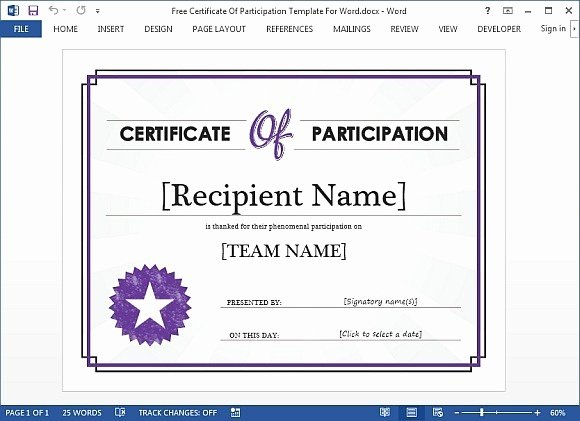 Certificate Of Participation Templates Lovely Best Certificate Templates for Word