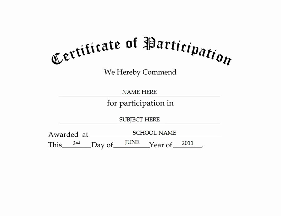 Certificate Of Participation Templates Unique Certificate Of Participation Free Templates Clip Art