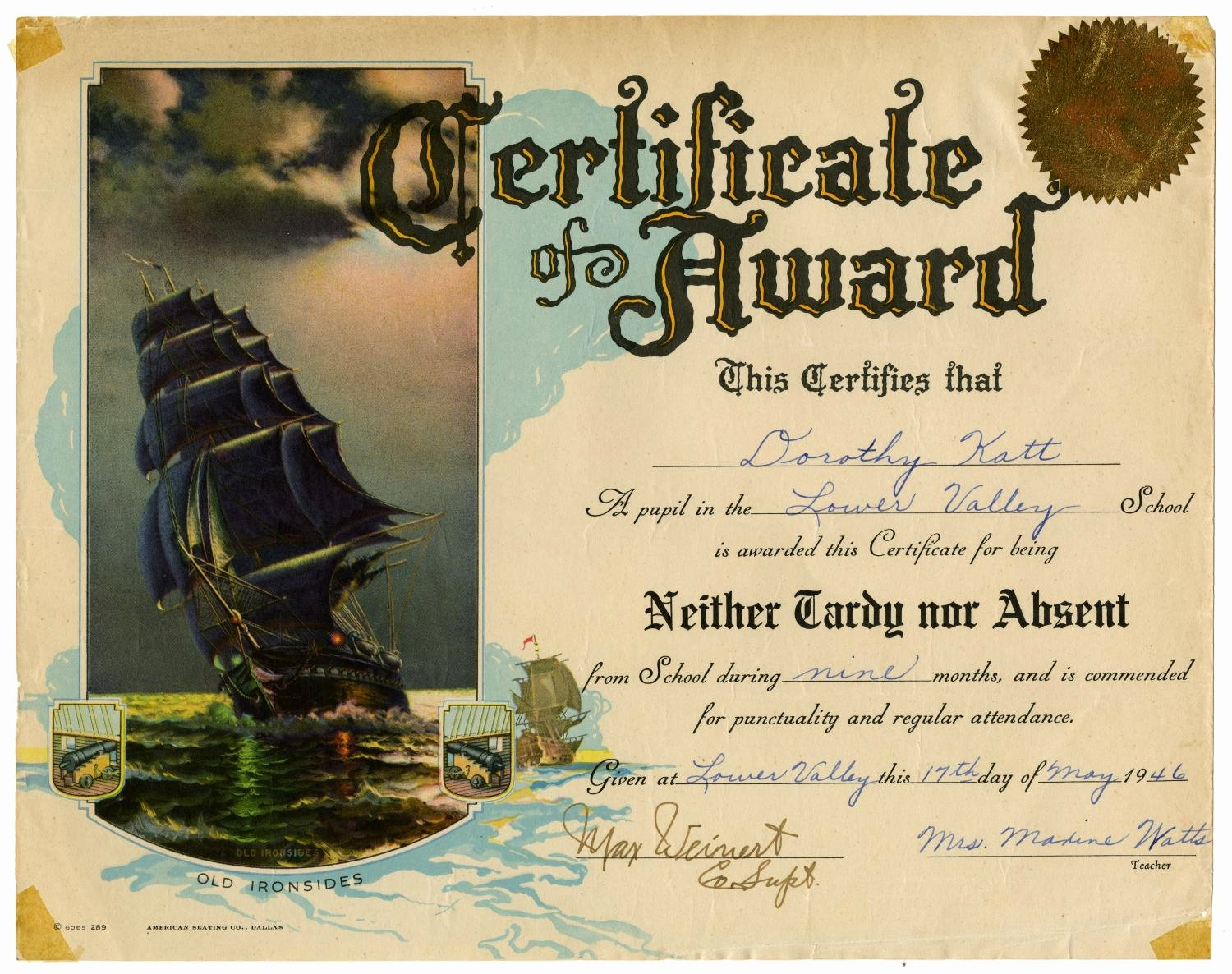 Certificate Of Perfect attendance Elegant [certificate for Perfect attendance] the Portal to Texas