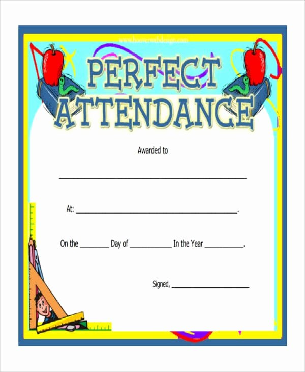 Certificate Of Perfect attendance Lovely Free 47 Award Certificate Examples and Samples In Word