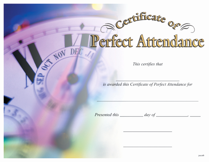 Certificate Of Perfect attendance Luxury Award Certificates