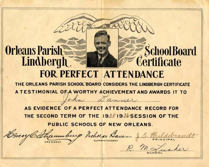 Certificate Of Perfect attendance Unique Lindbergh Perfect attendance Certificate From orleans