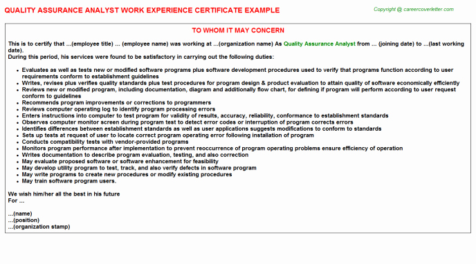 Certificate Of Quality Template Awesome Quality assurance Certificate Template