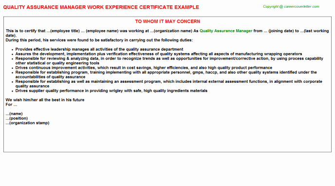 Certificate Of Quality Template Lovely Quality assurance Certificate Template