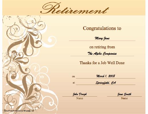 Certificate Of Retirement Template Beautiful Retirement Certificate Printable Certificate