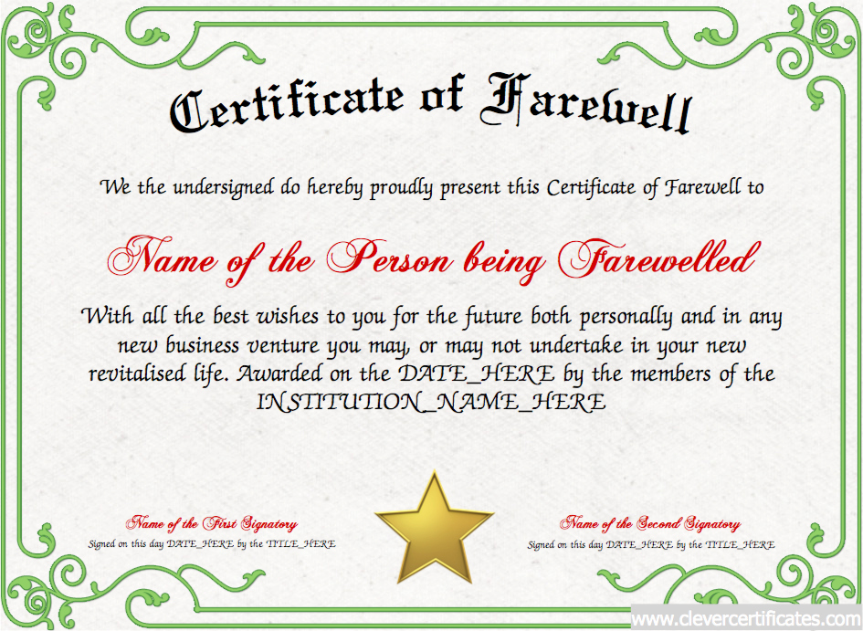 Certificate Of Retirement Template Fresh Certificate Of Farewell Free Certificate Templates for