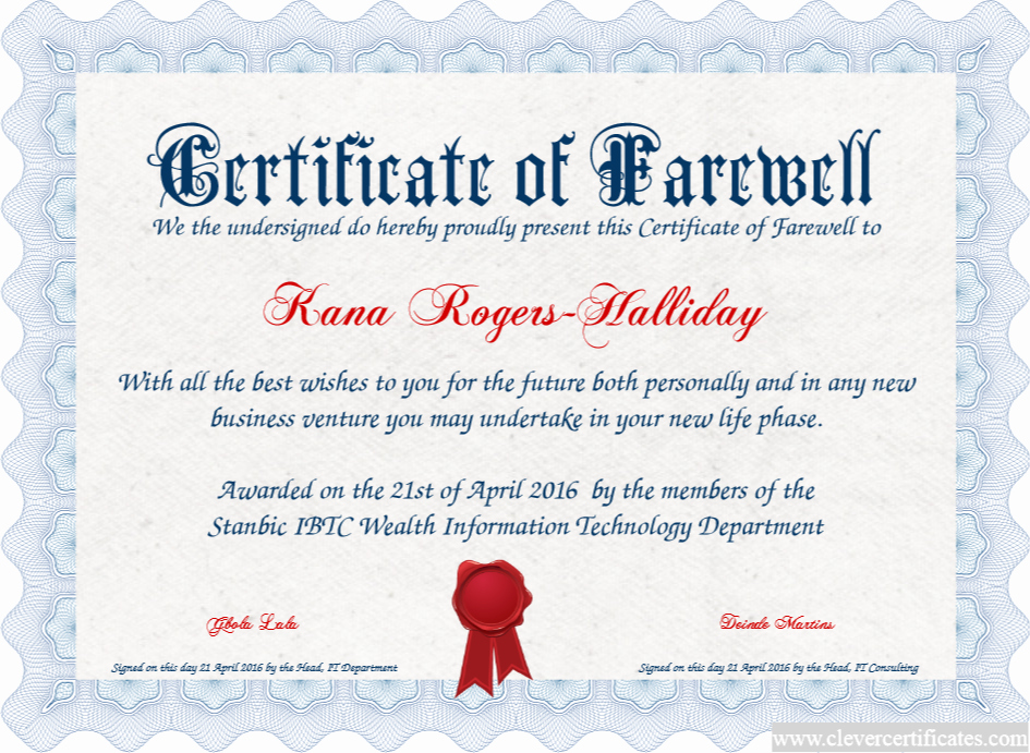Certificate Of Retirement Template New Certificate Of Farewell Free Certificate Templates for
