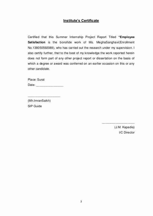 Certificate Of Satisfaction Template Awesome Project Report On Employee Satisfaction